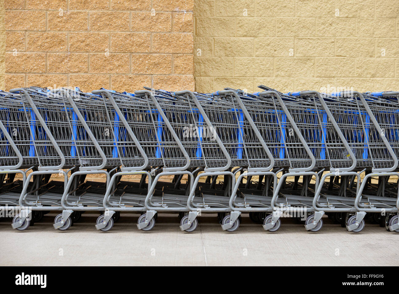 Line of grocery carts - Stock Image