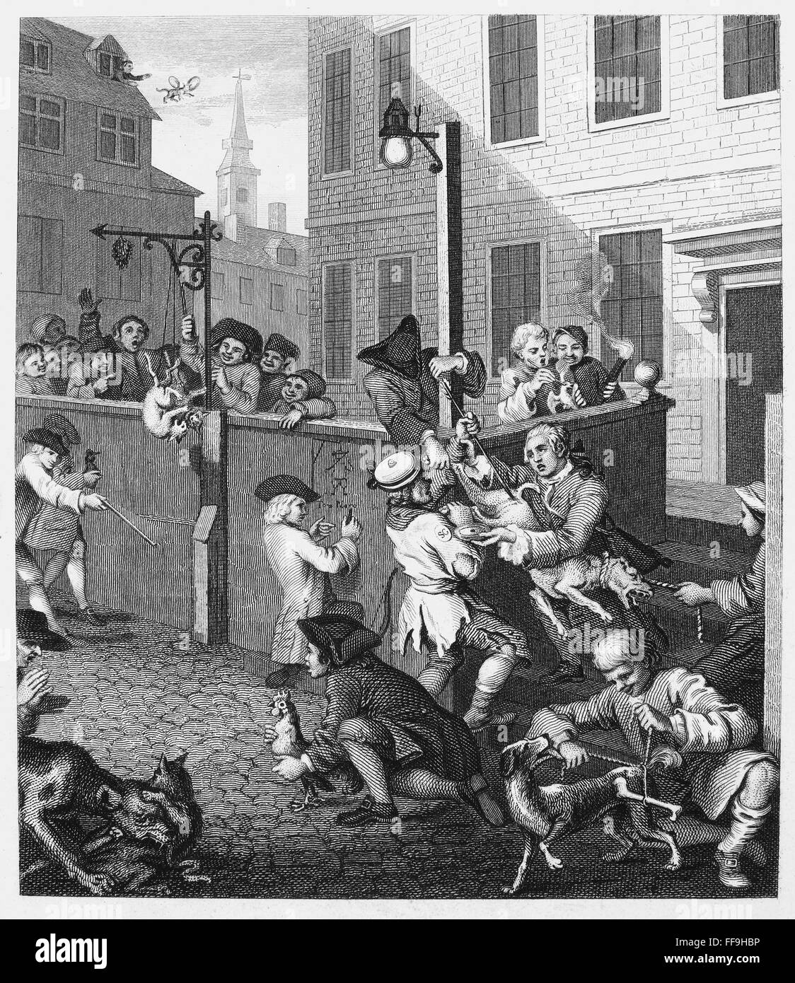 HOGARTH: CRUELTY, 1751. /n'The Four Stages of Cruelty. First Stage of  Cruelty.' Engraving after the etching, 1751, by William Hogarth.