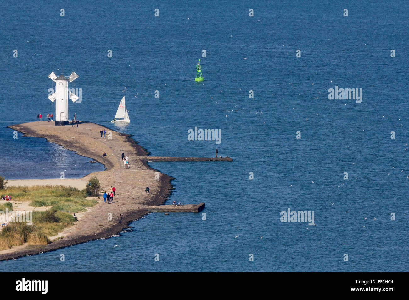 View of the port and Stawa Mlyny from the Swinoujscie lighthouse, Poland Stock Photo