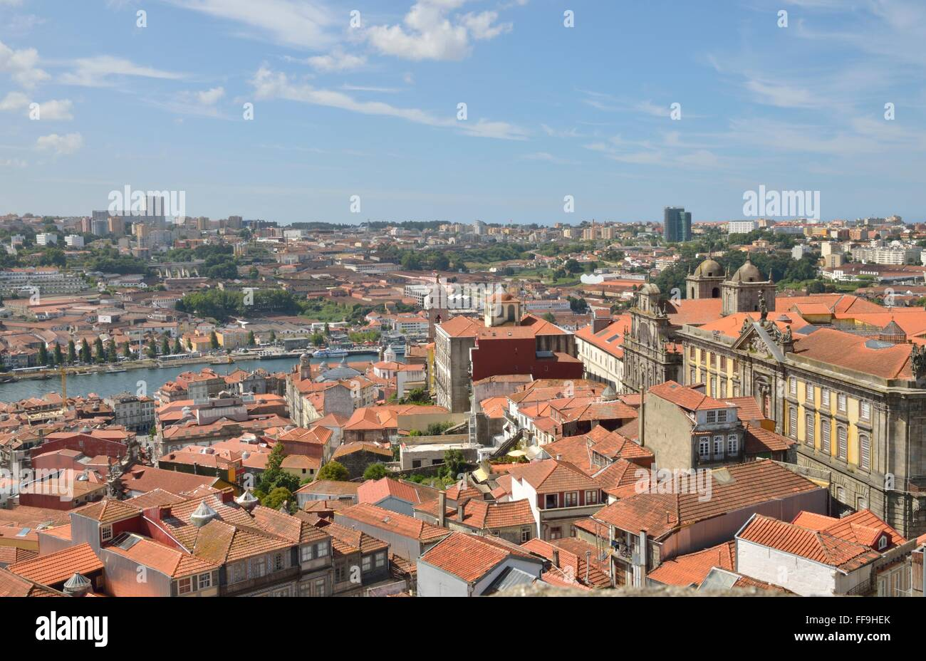 View of the Porto, Gaia and the river Douro  from  Clerigos Tower in Porto, Portugal - Stock Image