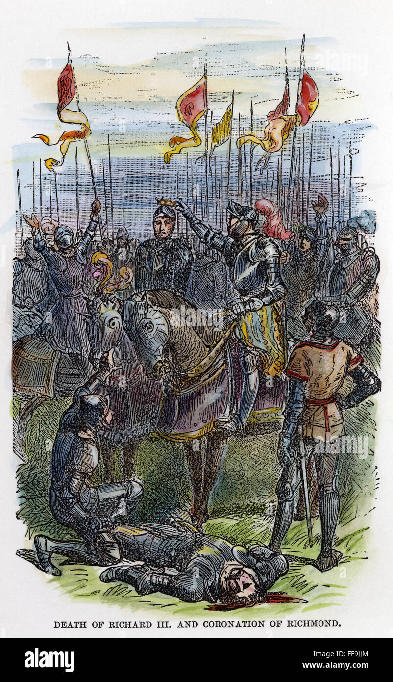 /nKing of England, 1485-1509. The defeat and death of King Richard III at  the battle of Bosworth Field, 22 August 1485, by the Earl of Richmond, ...