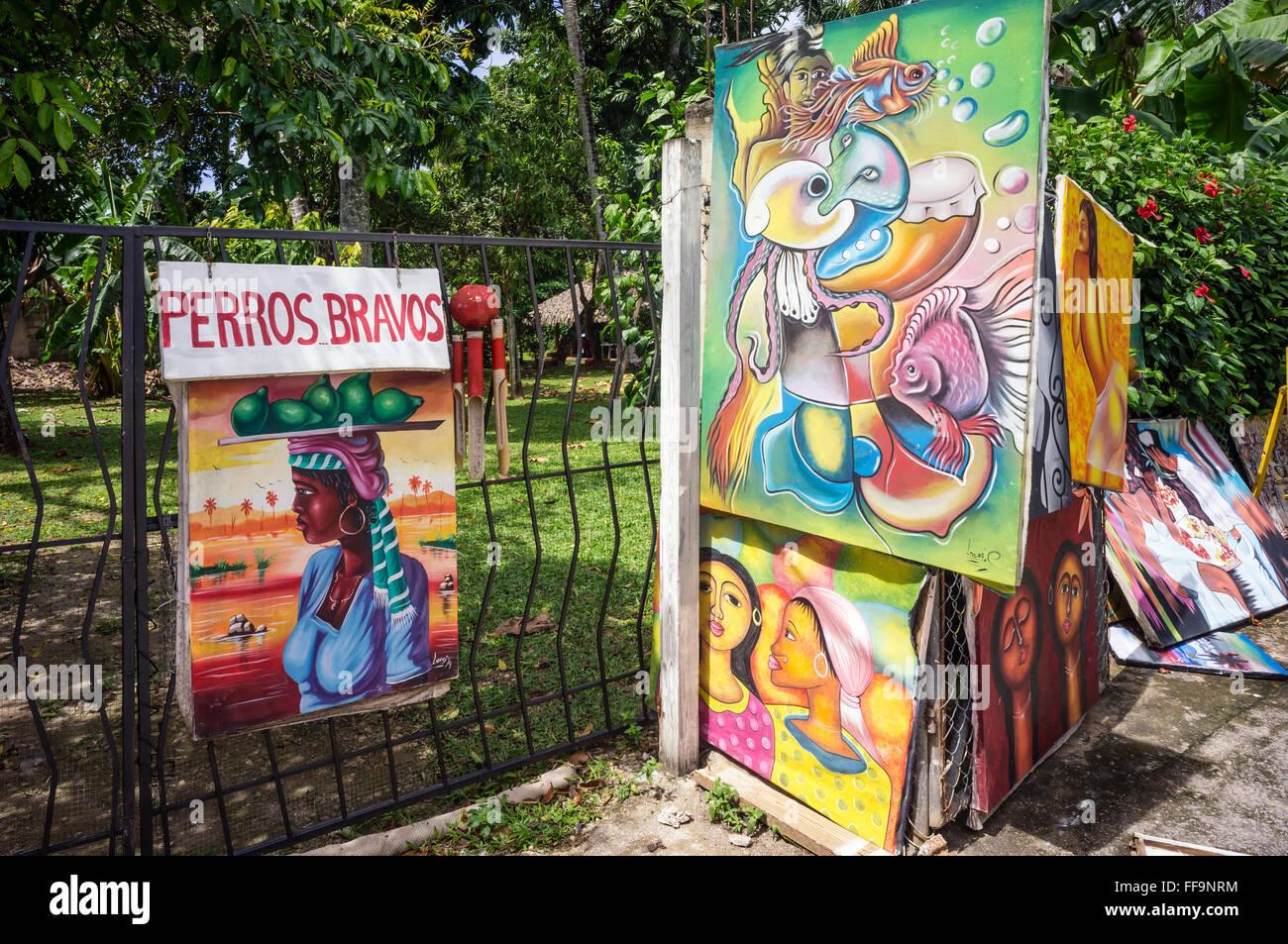 Naive paintings. Las Terrenas. Samana Peninsula. Dominican Republic. West Indies. Caribbean - Stock Image