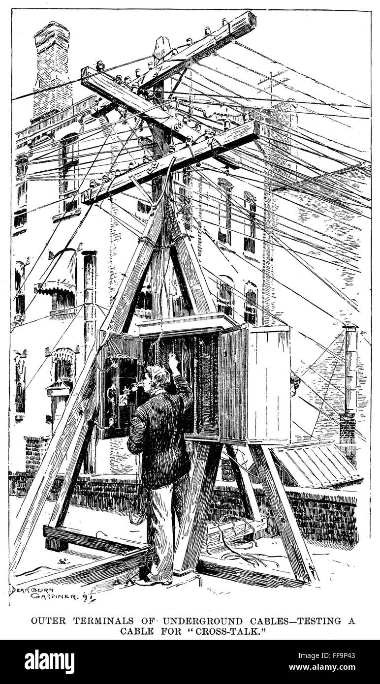 TELEPHONE LINES, 1891. /n\'Outer terminals of underground cables ...