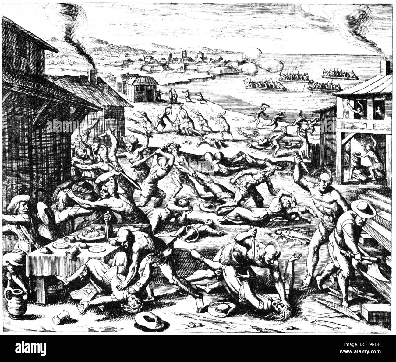 /nThe massacre at Jamestown, Virginia, 1622. Line engraving, 1628, by  Matthaeus Merian.
