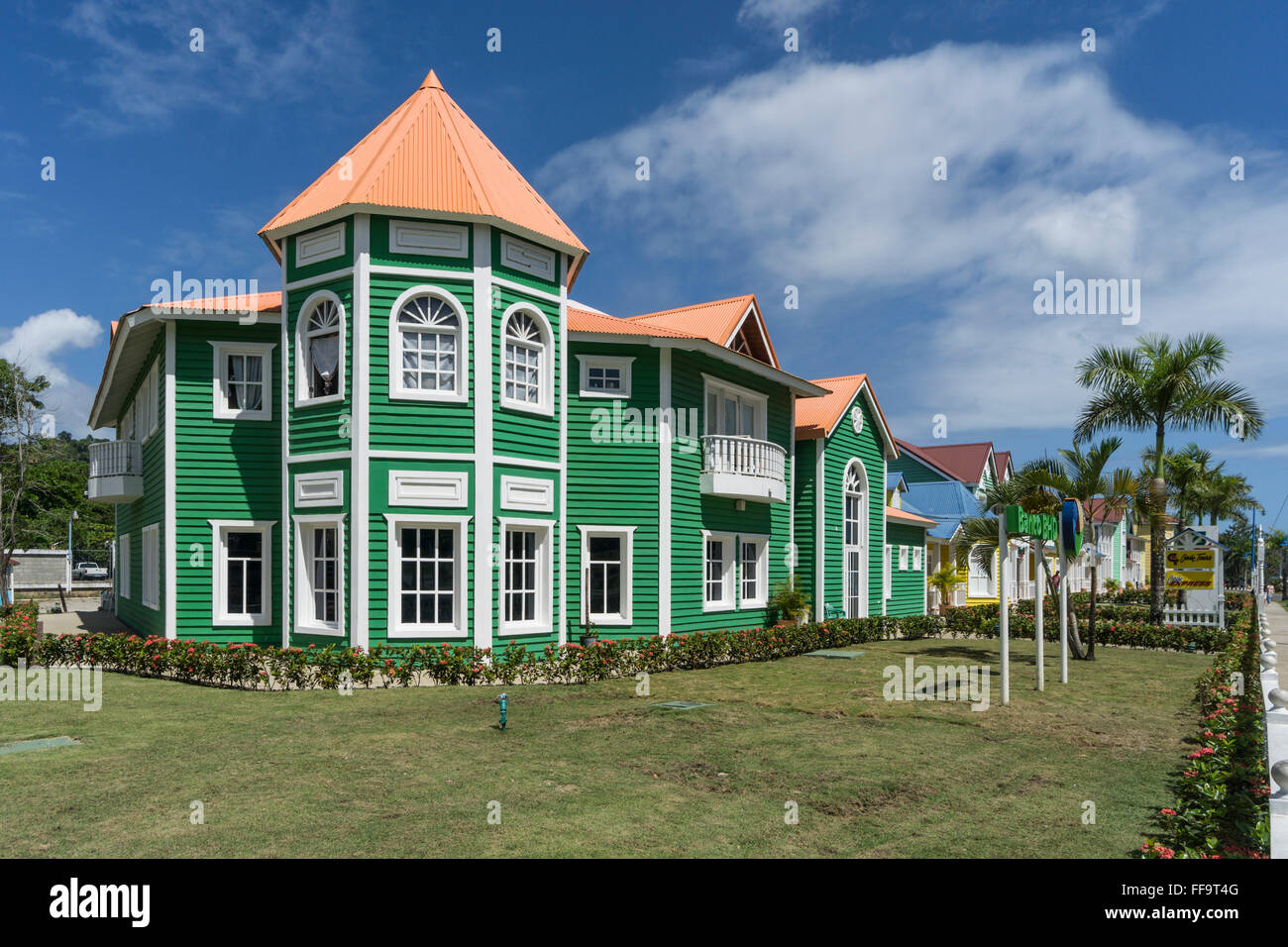 Wooden houses painted in Carribean colors, Samana,  Dominican Republic - Stock Image