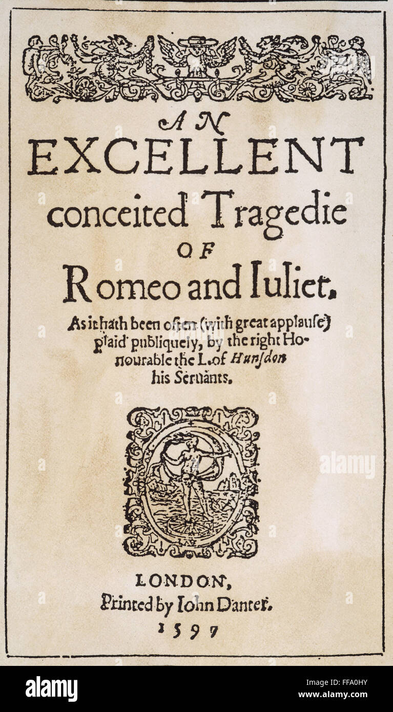 "/nTitle page from the first publication, London, 1597, of Shakespeare's  ""Romeo and Juliet."""