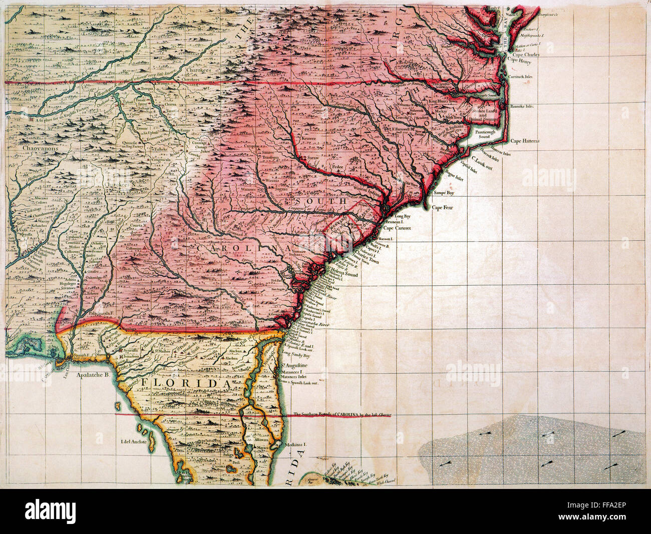 Colonial American Map.Colonial America Map 1733 Nenglish Map Of The American South East