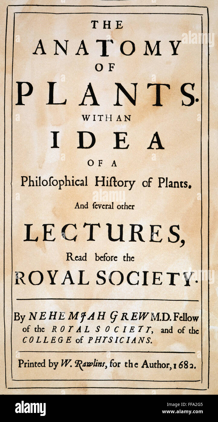 Grews Anatomy Of Plants Nthe Title Page Of The First Edition Of