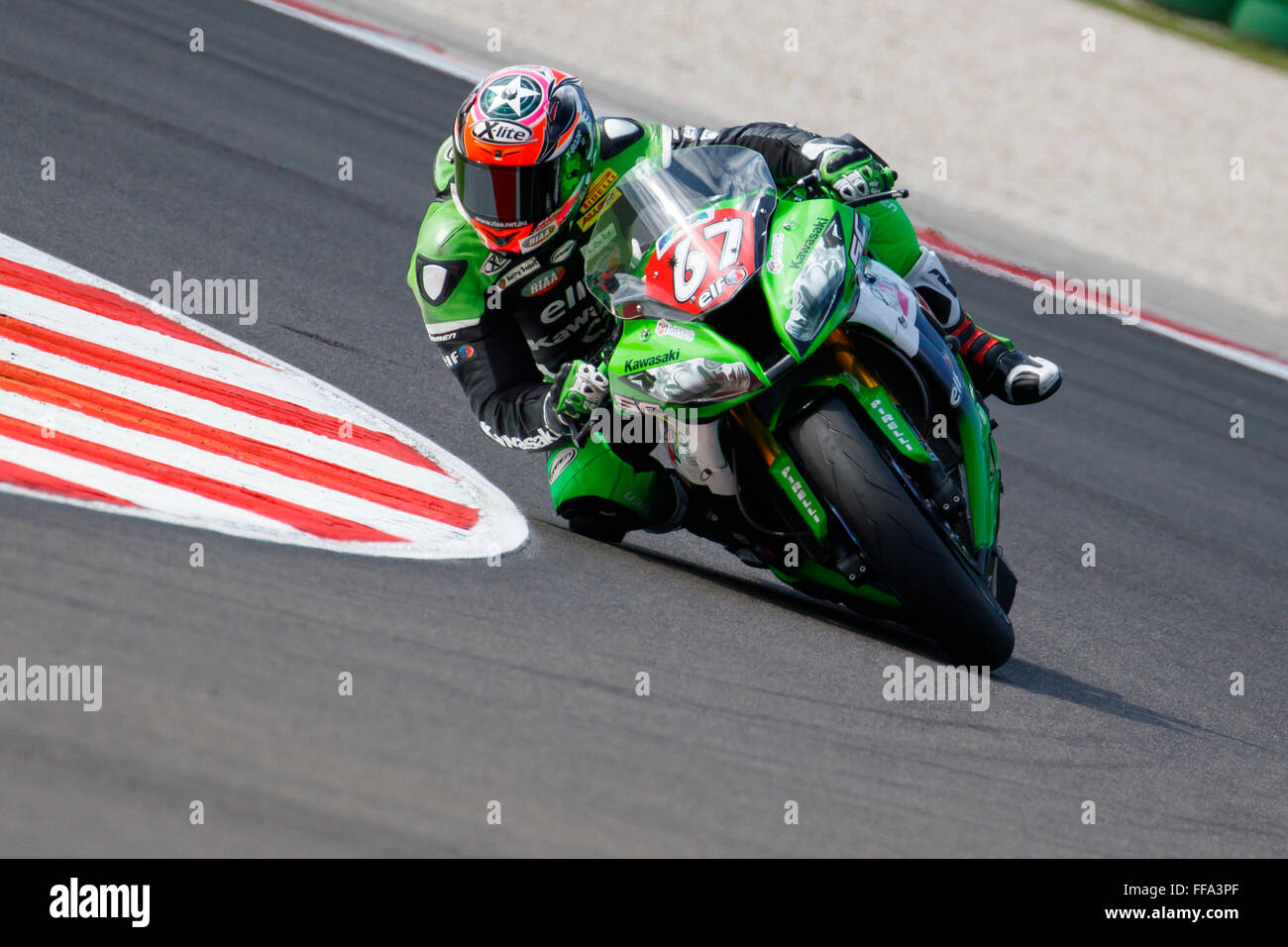 Misano Adriatico, Italy - June 20, 2015: Kawasaki ZX-10R of Team Pedercini, driven by STARING Bryan Stock Photo