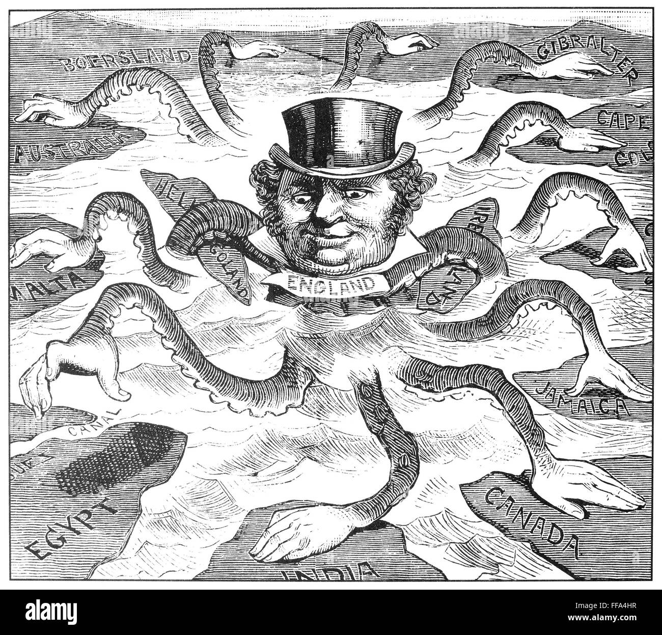 An American cartoon from 1882 depicting John Bull (England) as the octopus  of imperialism grabbing land on every continent. 1f308329129d