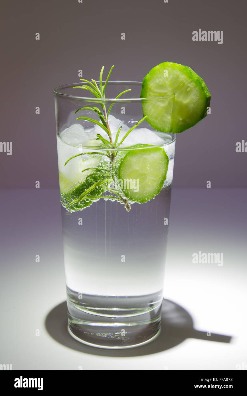 Gin tonic with cucumber - Stock Image