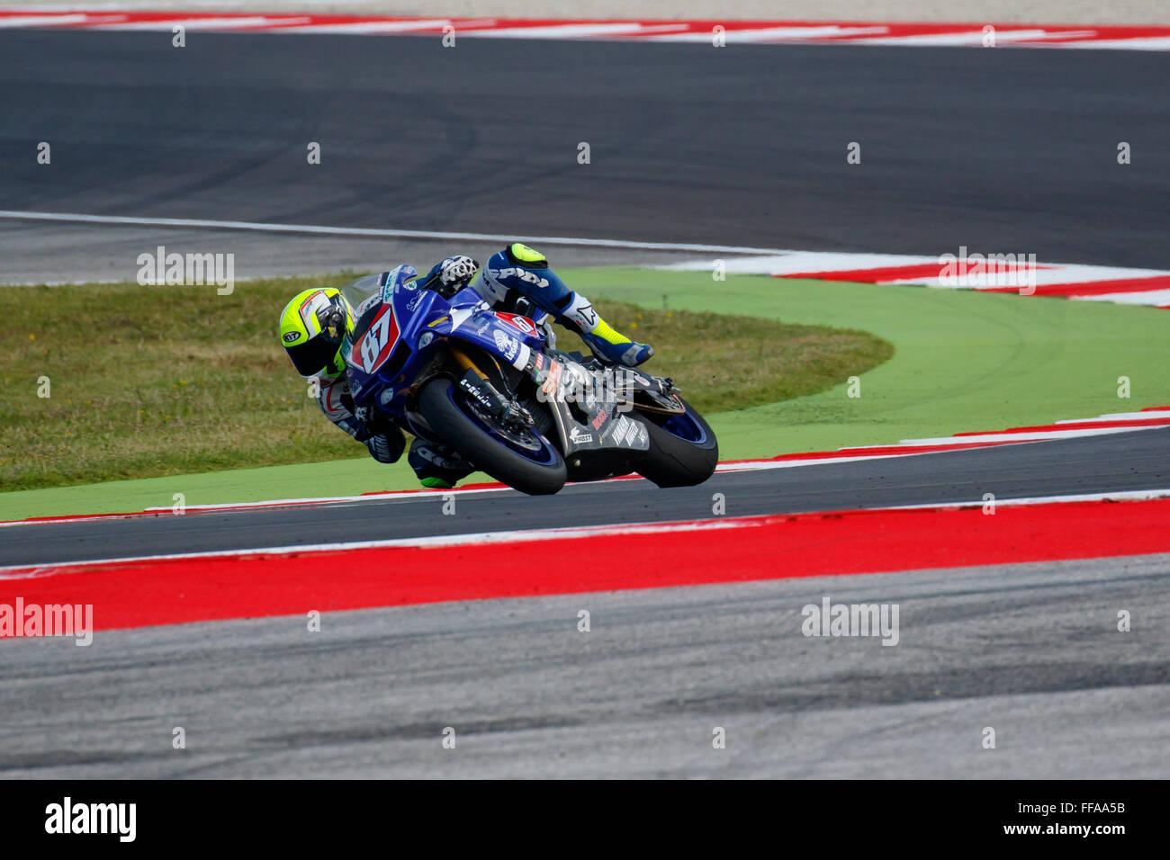 Misano Adriatico, Italy - June 20, 2015: Yamaha YZF R1 of Team Trasimeno, driven by MARCONI Luca Stock Photo