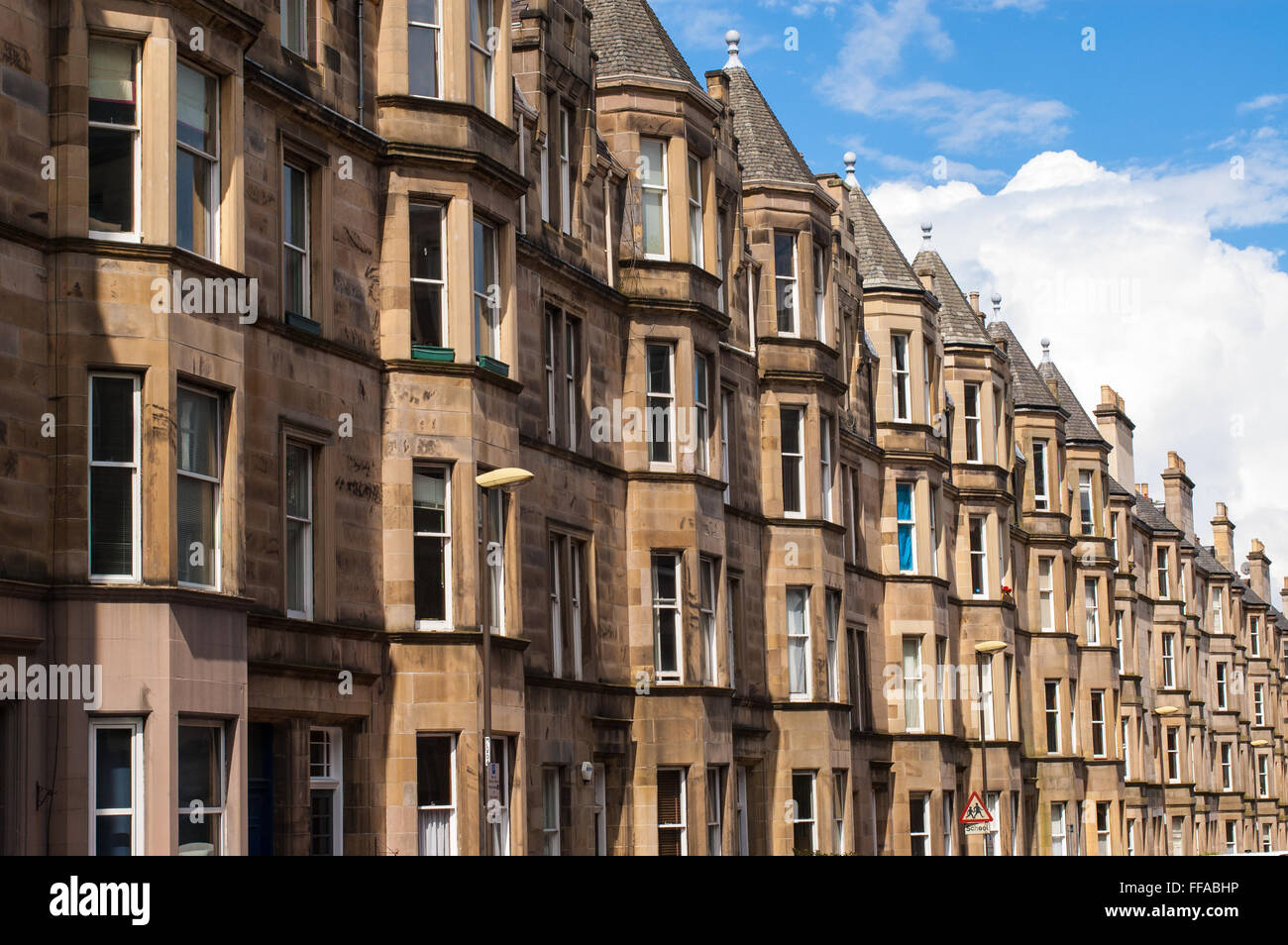 View of Victorian tenement housing in the West End of Edinburgh, Morningside. Stock Photo