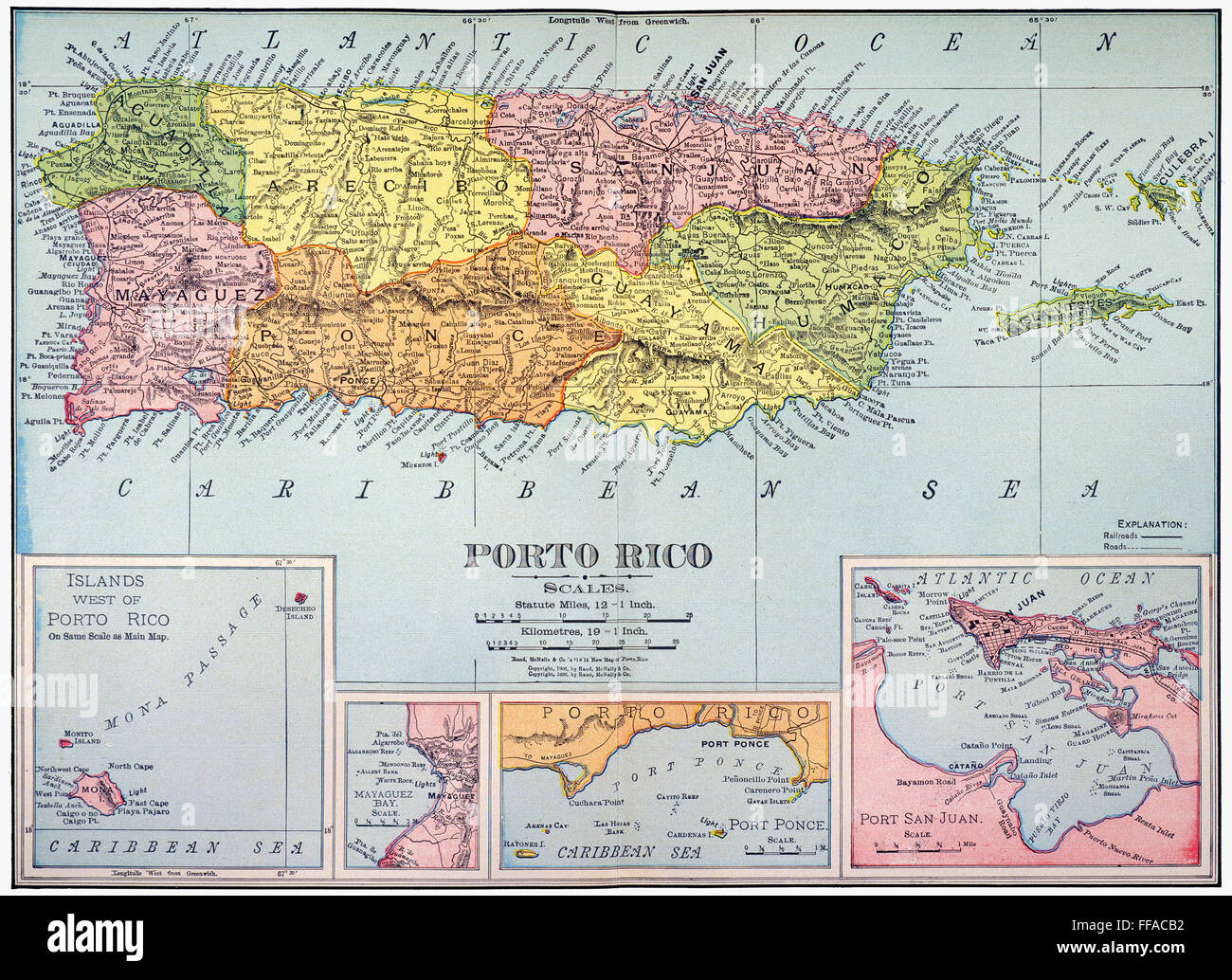 MAP: PUERTO RICO, 1900. /nMap of Puerto Rico printed in the United ...