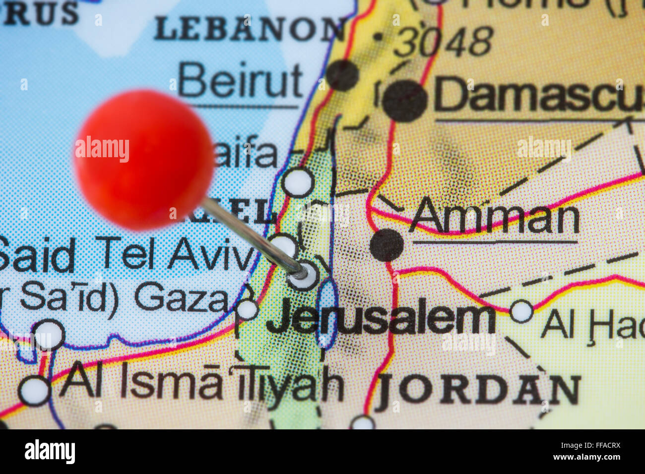 Close-up of a red pushpin in a map of Jerusalem, Israel Stock Photo ...