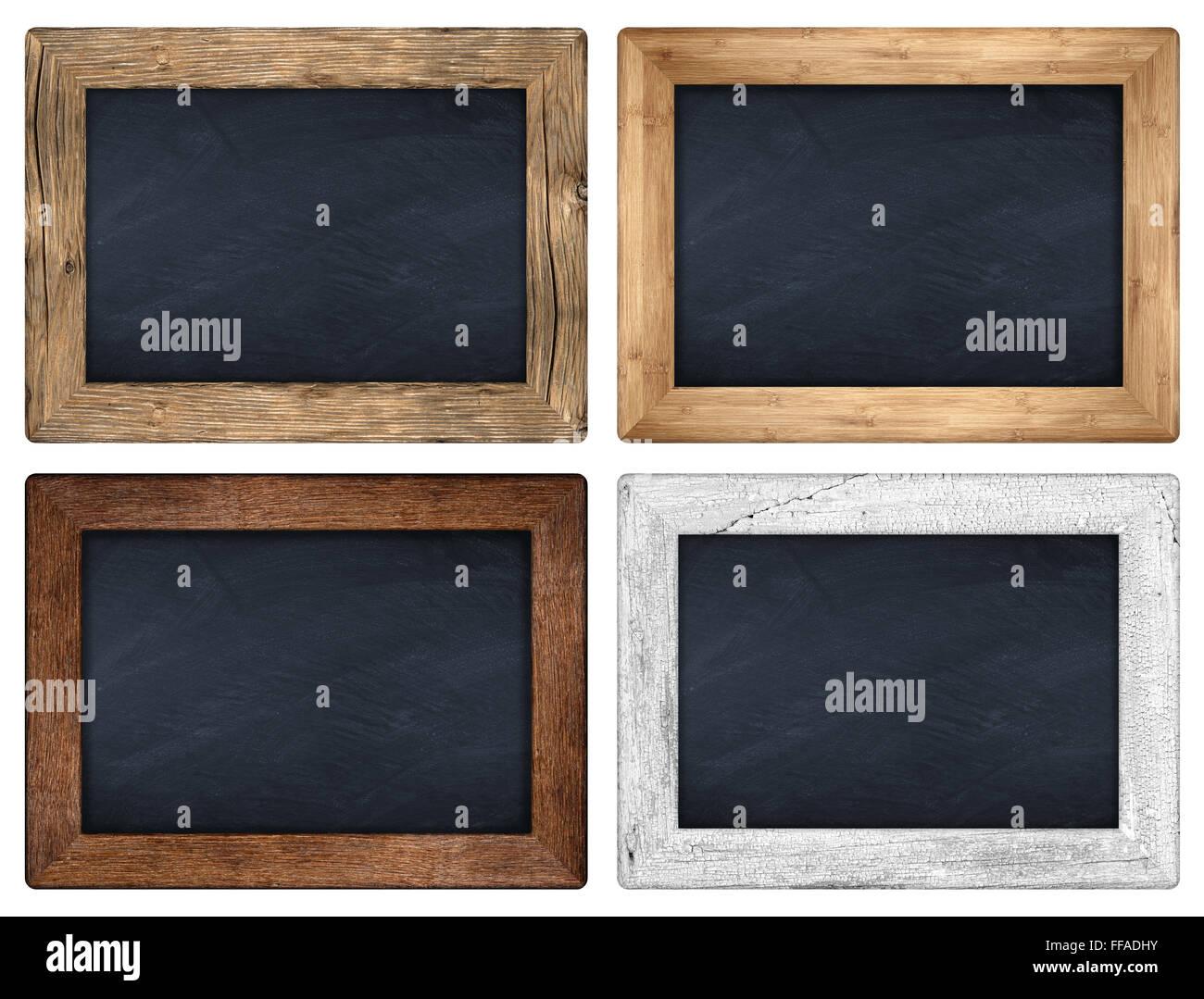 set of various wooden blackboards on white background - Stock Image
