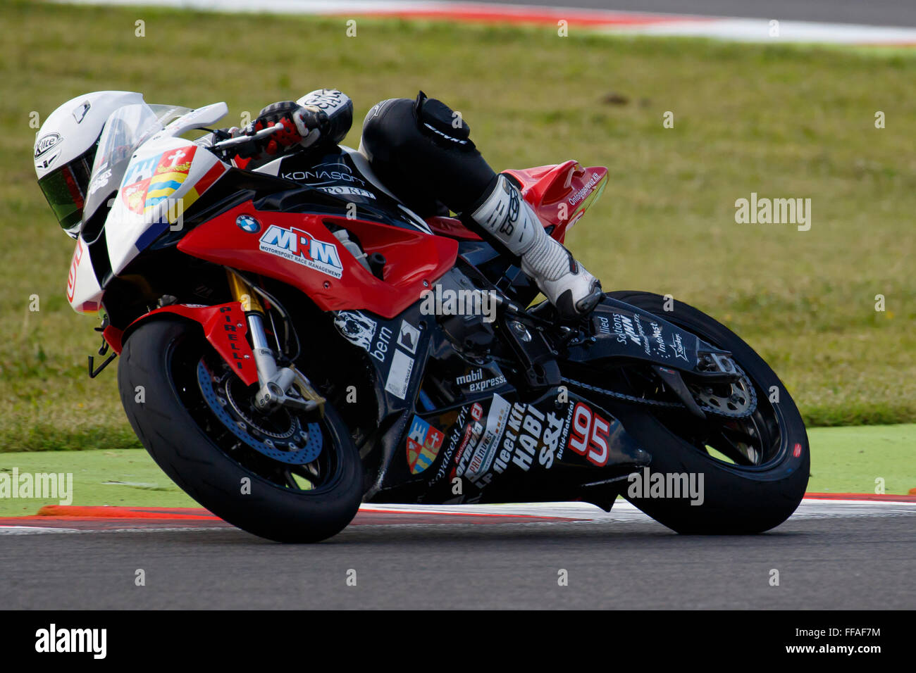 Misano Adriatico, Italy - June 20, 2015: BMW S1000 RR of Team ASPI, driven by MURESAN Robert Stock Photo