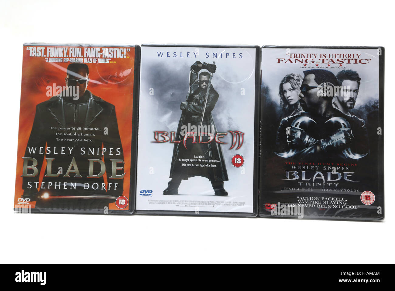 Blade, Blade II And Blade Trinity DVDS - Stock Image