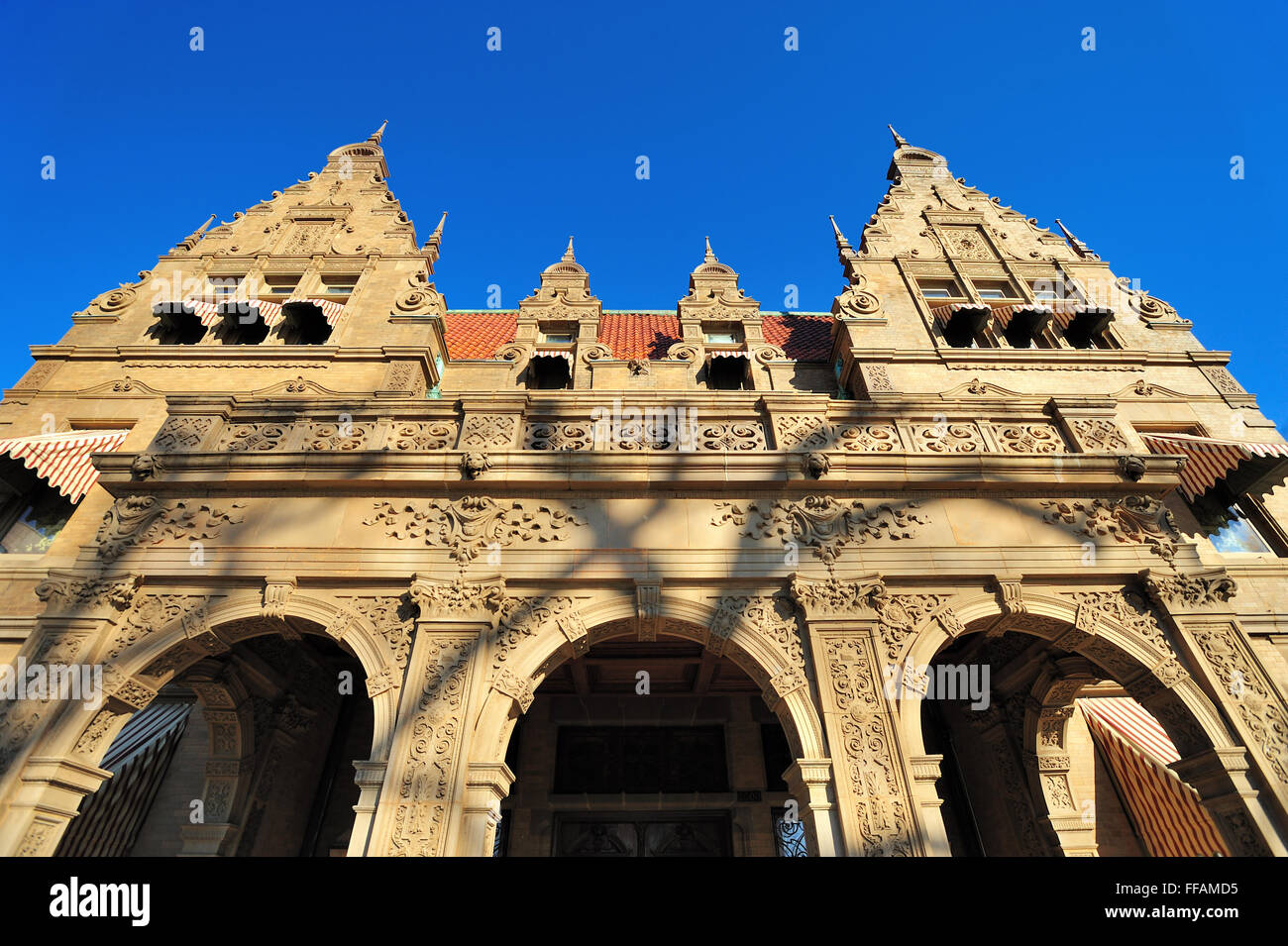 The front facade of the Pabst Mansion in Milwaukee, Wisconsin. The structure was completed in 1892. Milwaukee, Wisconsin, - Stock Image