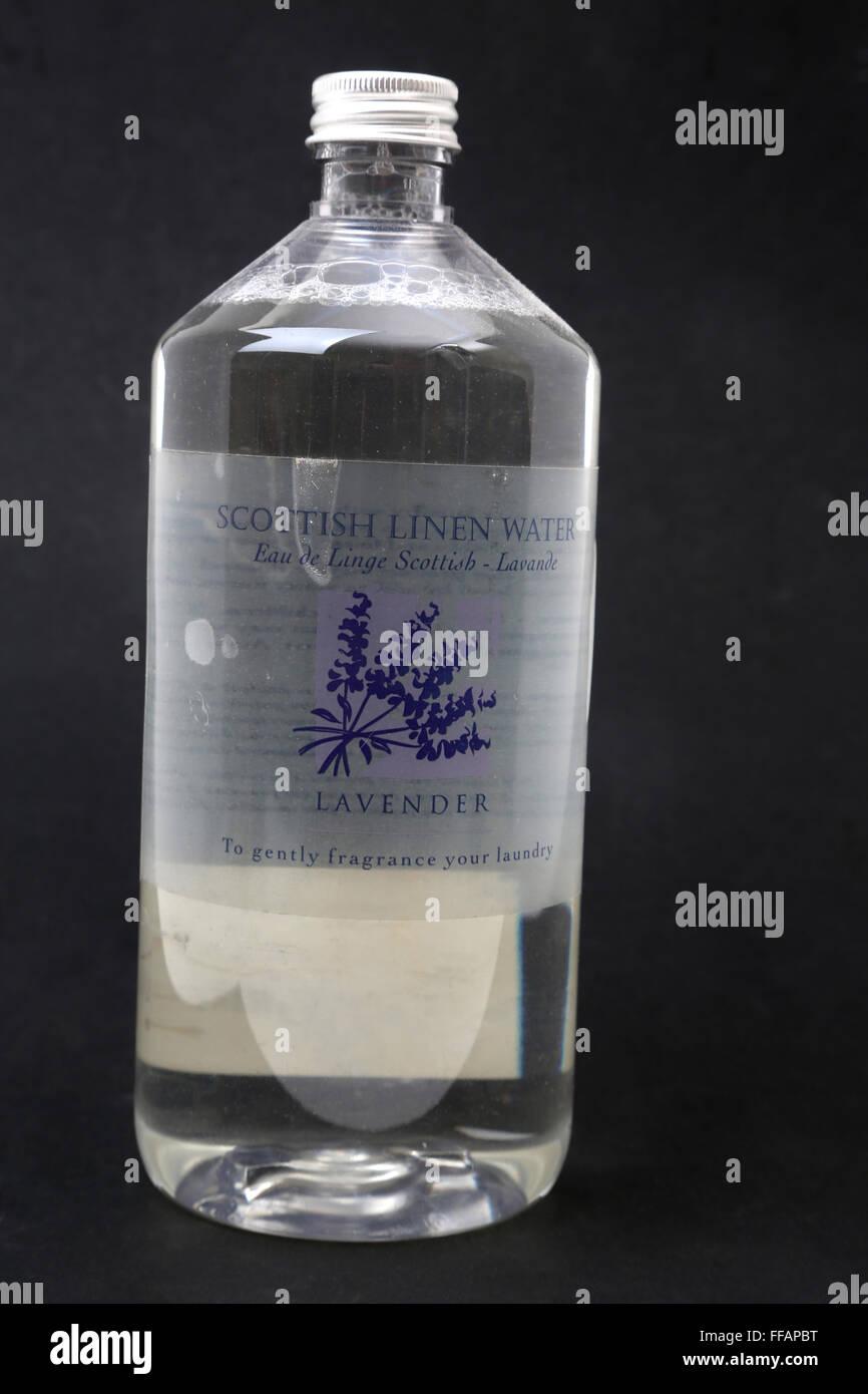 A Bottle Of Scottish Linen Water Lavender Fragrance - Stock Image