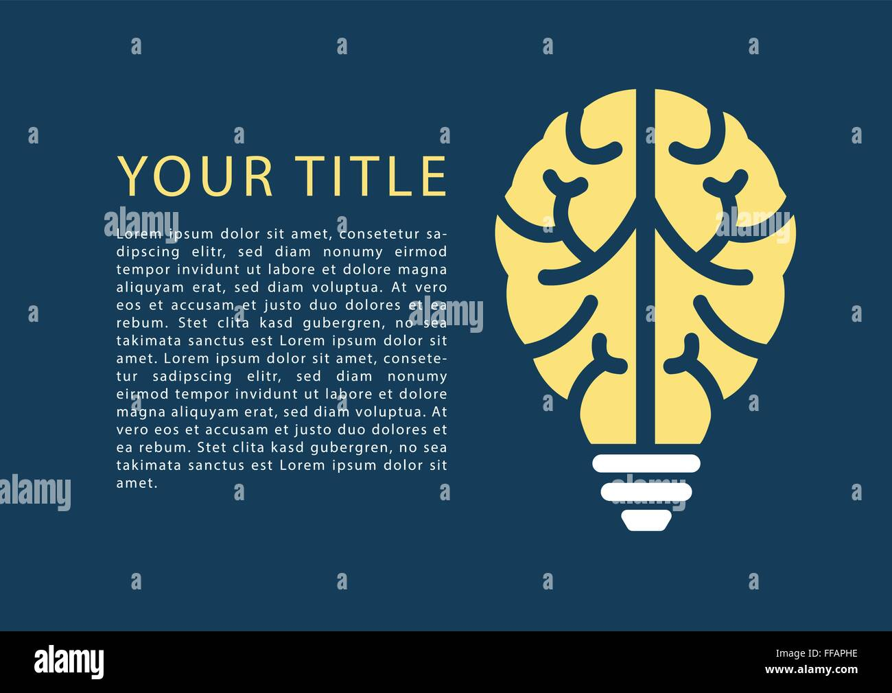 Infographic with light bulb and brain as template for topics Stock ...