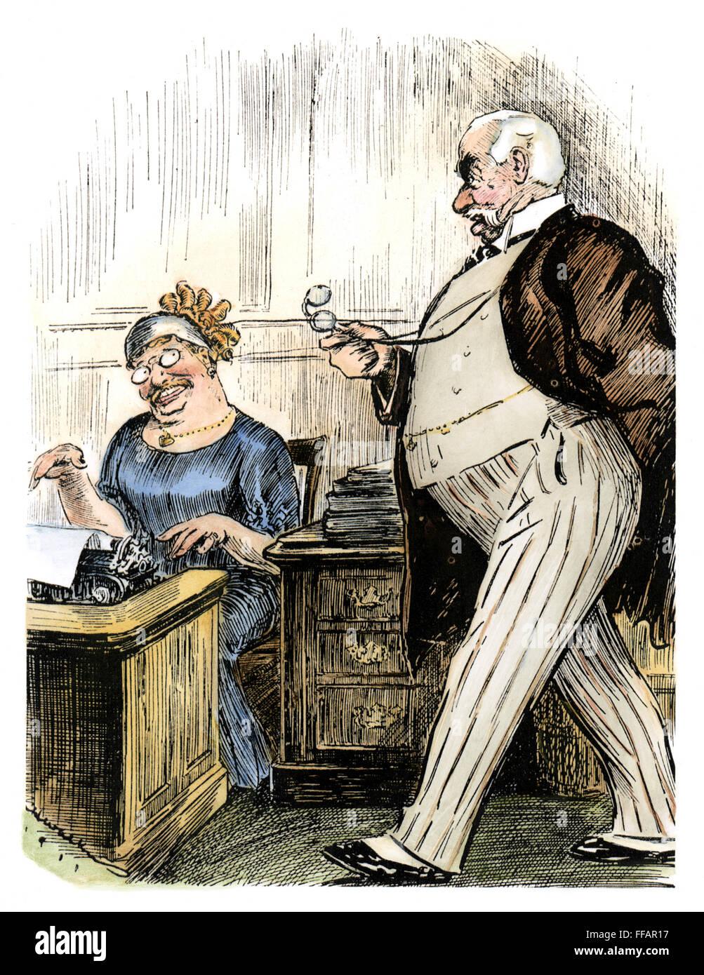 MORGAN & ROOSEVELT, c1905. /nAmerican banker and financier J.P. Morgan gives dictation to his secretary, an obedient Stock Photo