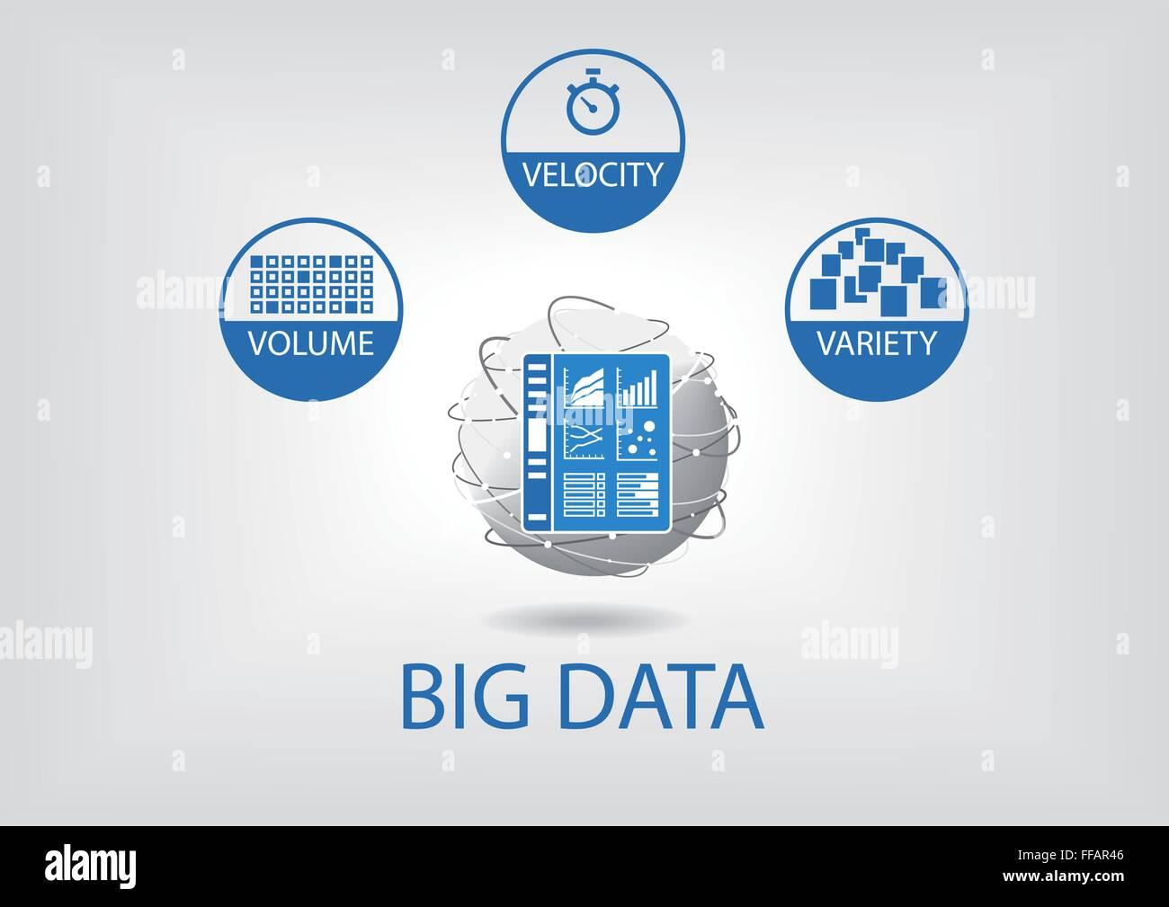 Big data volume, variety, velocity vector illustration - Stock Image
