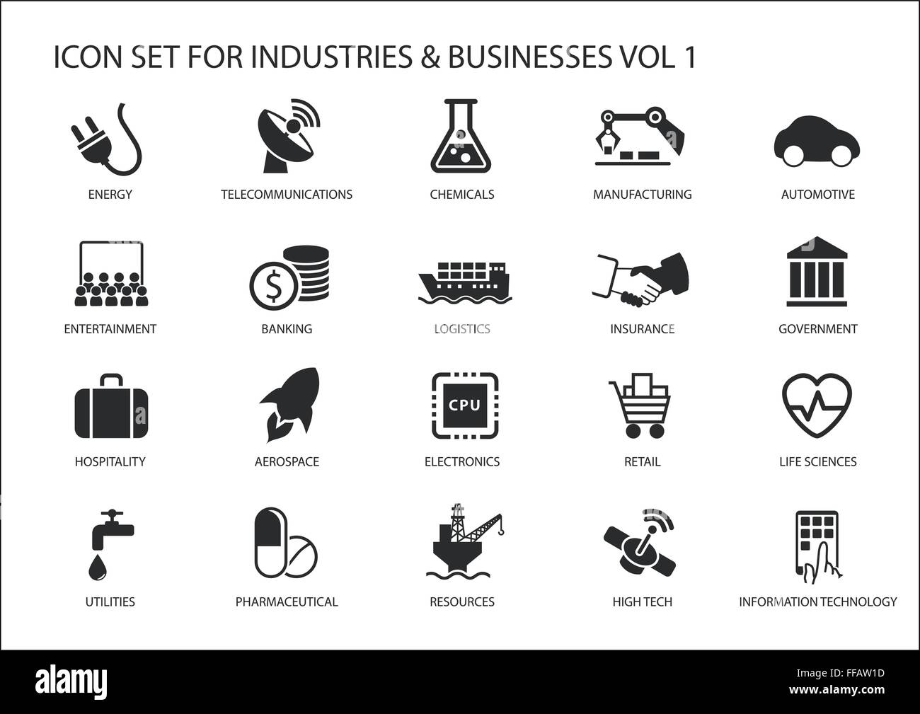 Business icons and symbols of various industries / business sectors like financial services industry, automotive, - Stock Vector