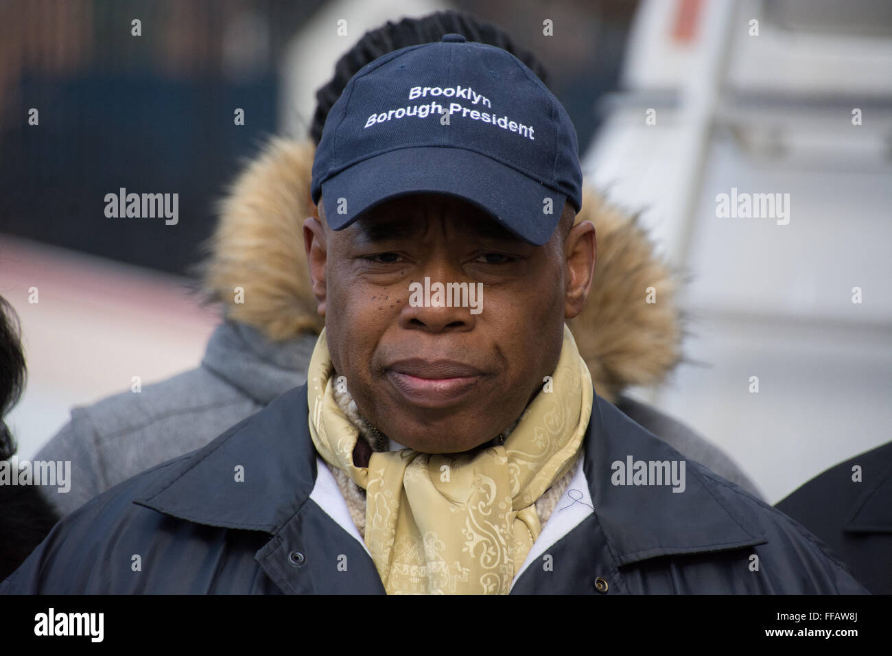 Brooklyn, USA. 11 February, 2016. Brooklyn Borough President Eric Adams shows his dismay  at the site of a knife - Stock Image