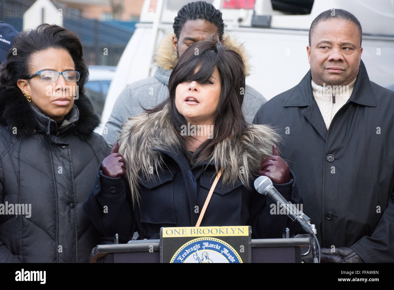 Brooklyn, USA. 11 February, 2016. Devorah Halberstam, anti-violence activist, joined elected officials and civic - Stock Image