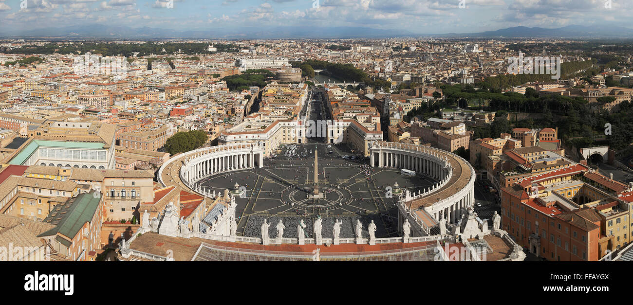 View of St. Peter's Square and Rome from the Dome of St. Peter's Basilica - Stock Image