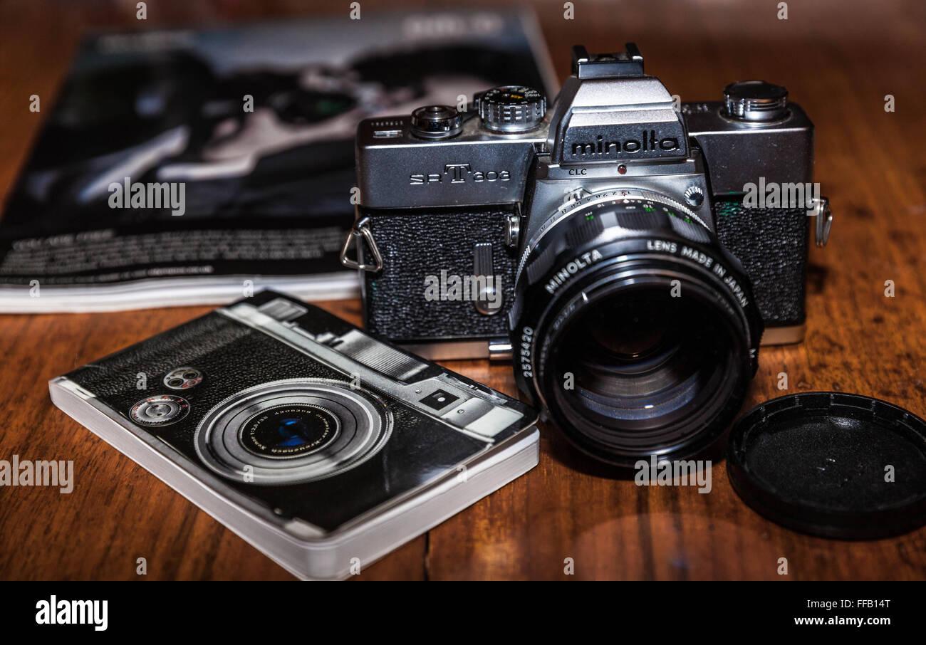 A 35mm Minolta film camera - Stock Image