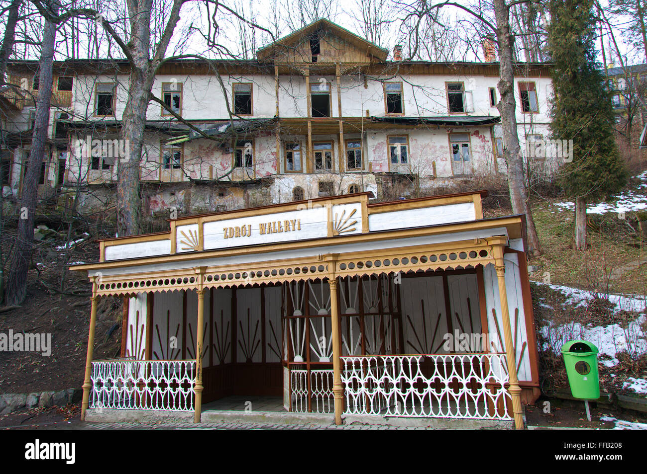 Derelict building above a local stall in Szczawnica, a resort town in Nowy Targ County in Lesser Poland Voivodeship, - Stock Image