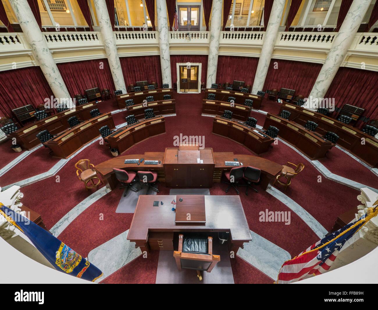 Senate chambers, Idaho State Capitol building, Boise, Idaho. - Stock Image
