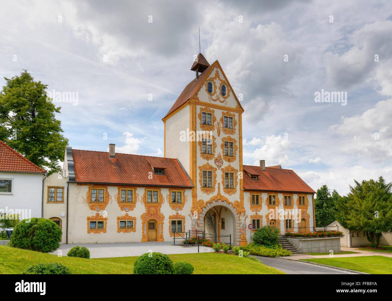 West gate, city gate in Rot an der Rot, Upper Swabia, Swabia, Baden-Württemberg, Germany - Stock Image