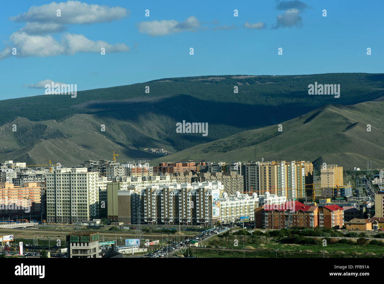 Newly built residential area, Ulan Bator, Mongolia - Stock Image