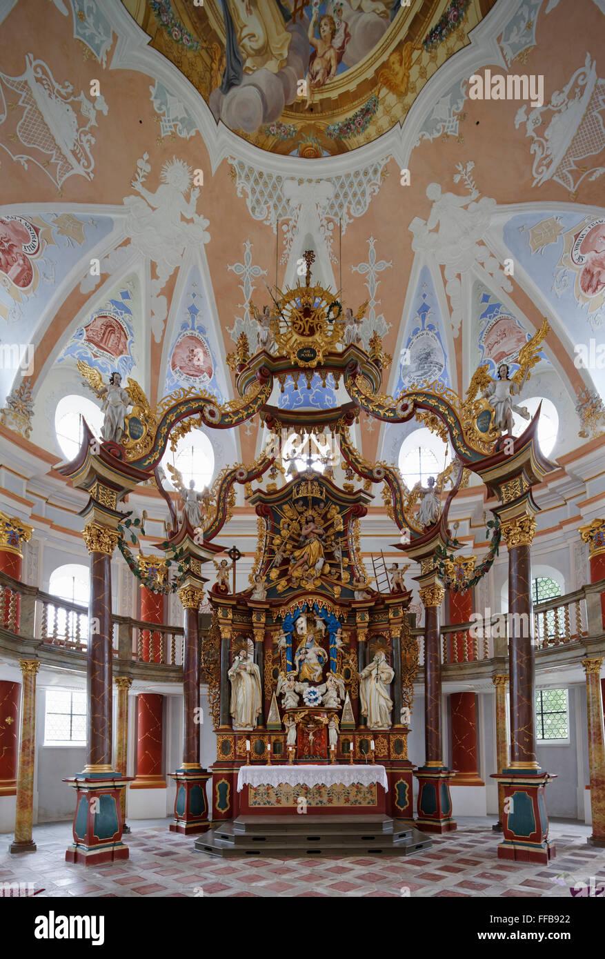 Chancel with the altar, Church St. Johann, Rot an der Rot, Upper Swabia, Swabia, Baden-Württemberg, Germany - Stock Image