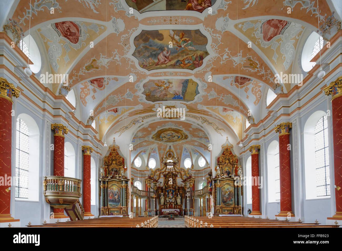 Church St. Johann, Rot an der Rot, Upper Swabia, Swabia, Baden-Württemberg, Germany - Stock Image