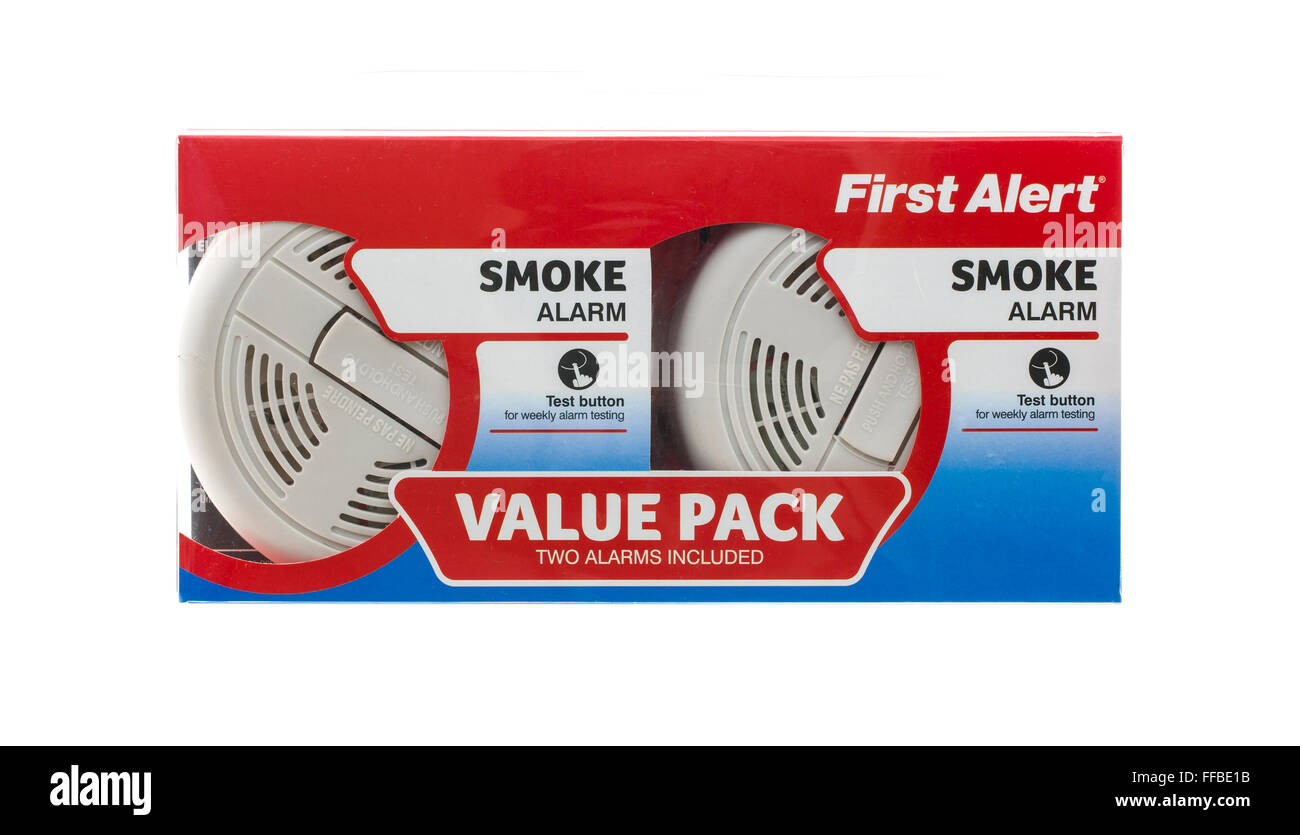 Value Pack of First Alert Smoke Alarms on a White Background - Stock Image