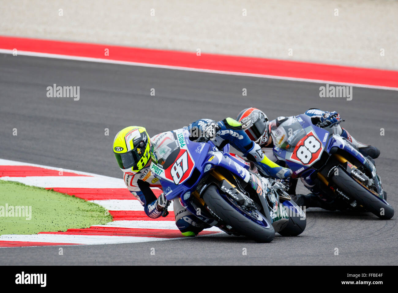 Misano Adriatico, Italy - June 20, 2015: Yamaha YZF R1 of Team Trasimeno, driven by MARCONI Luca Stock Photo
