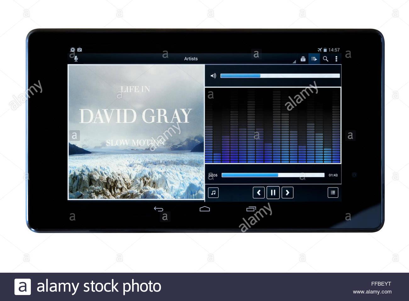 David Gray 2005 album Life in Slow Motion, MP3 album art on PC tablet, England Stock Photo