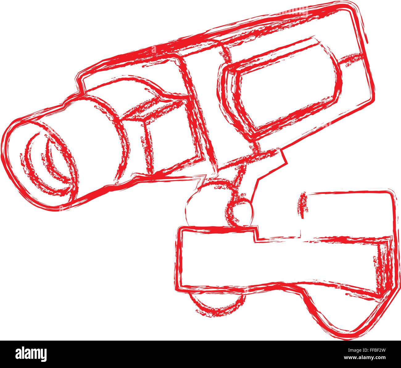 Red and White Surveillance Camera (CCTV) Warning Sign. Vector illustration - Stock Image