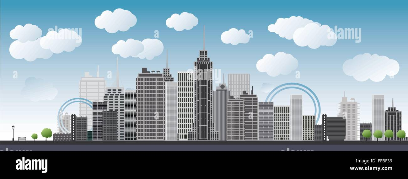 An imaginary big city with skyscrapers, blue sky, clouds and trees. vector illustration - Stock Vector