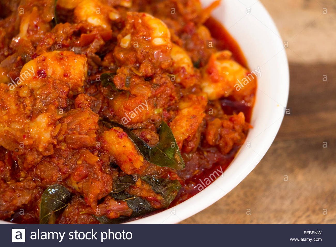 Prawn balchao is a goan style pickle which is made from prawns are cooked in tangy and spicy gravy and this can - Stock Image