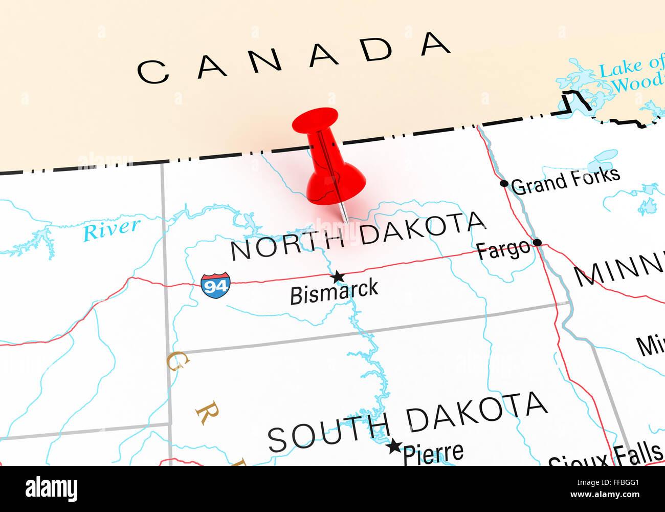 Red Thumbtack Over North Dakota State USA Map. 3D rendering Stock ...
