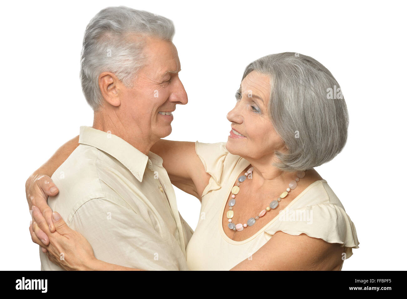 Happy smiling old couple - Stock Image