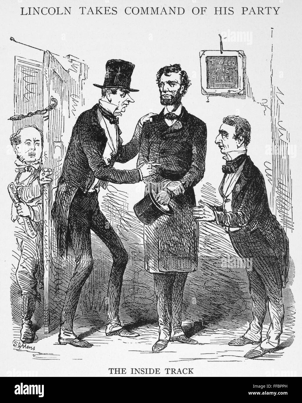 Lincoln Cartoon 1861 N The Inside Track President Elect