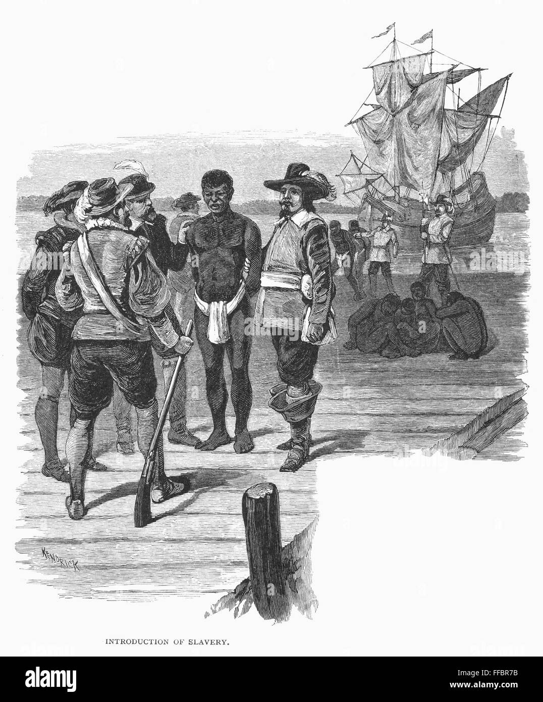 JAMESTOWN: SLAVERY, 1619. /nThe introduction of African slavery into the  American colonies at Jamestown, Virginia, in August 1619 when a Dutch ship  landed ...