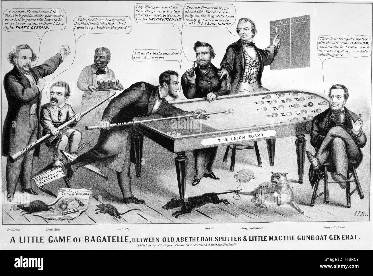 Cartoon Election Of 1864 N A Little Game Of Bagatelle Between