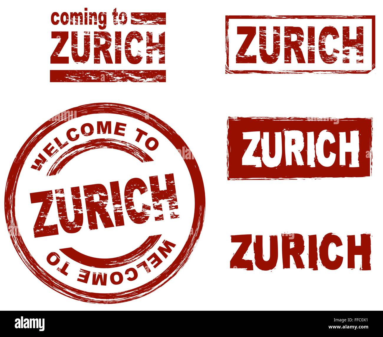 Set of stylized ink stamps showing the city of Zurich - Stock Vector